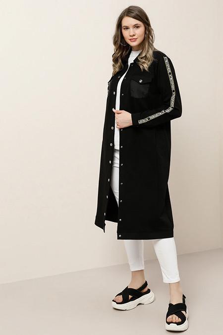 Alia Siyah Cep Detaylı Çıtçıtlı Ceket