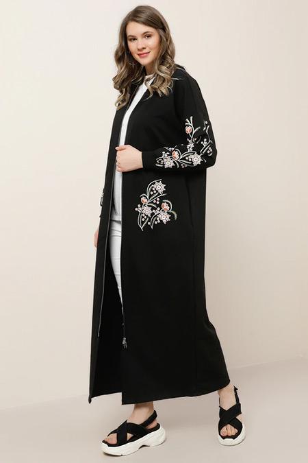 Alia Siyah Doğal Kumaşlı Çiçek Desenli Kap