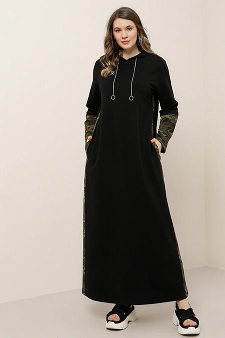 Alia Siyah Doğal Kumaşlı Kapüşonlu Desenli Elbise