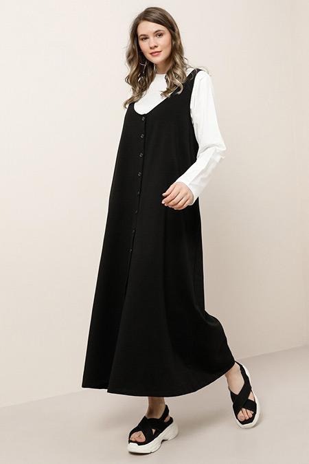 Alia Siyah Ekru Doğal Kumaşlı Bluz Elbise İkili Takım
