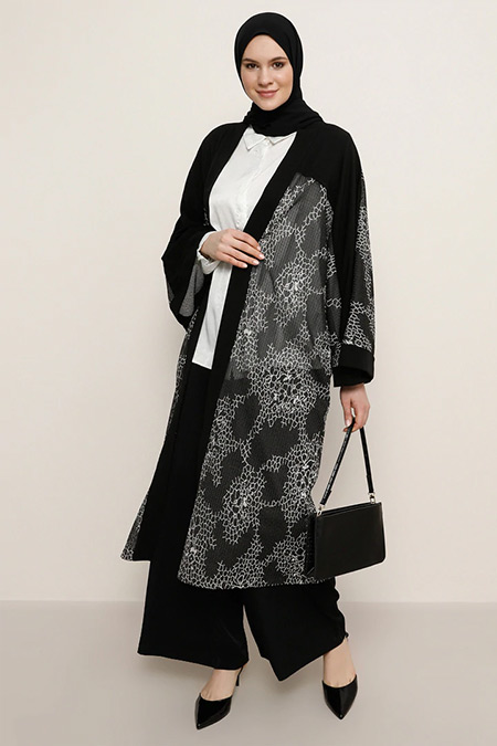 Alia Siyah Kimono Kap