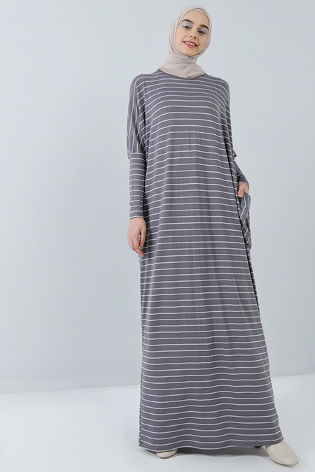 Benin Açık Gri Doğal Kumaşlı Cepli Salaş Elbise