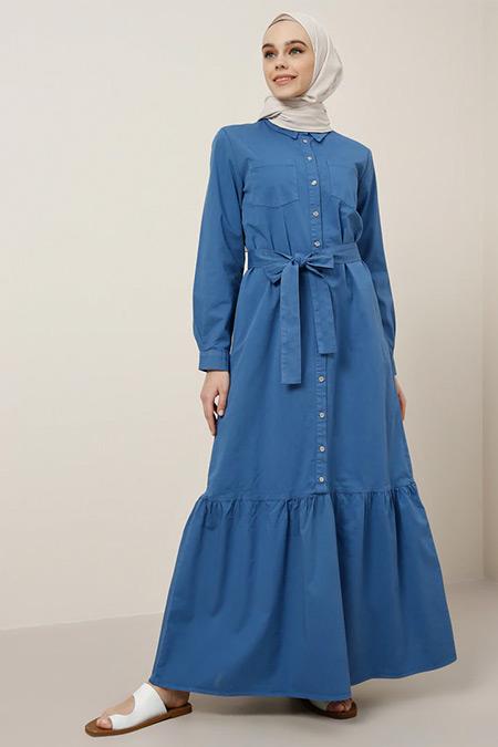 Benin Derin Mavi Doğal Kumaşlı Gizli Düğmeli Elbise