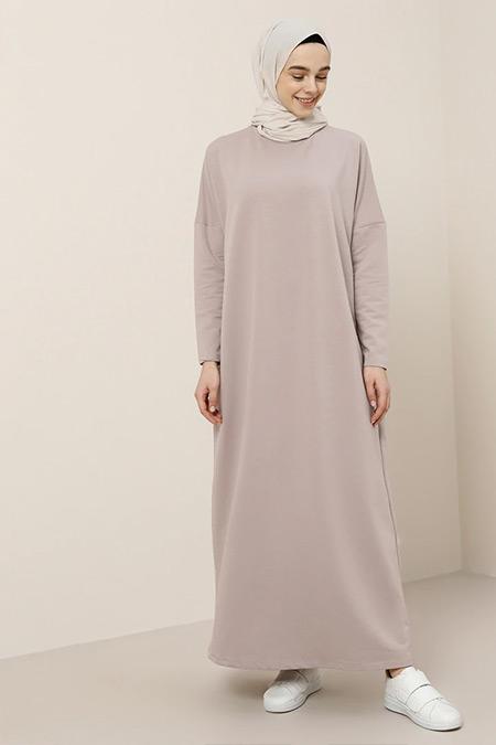 Benin Derin Pembe Cep Detaylı Elbise