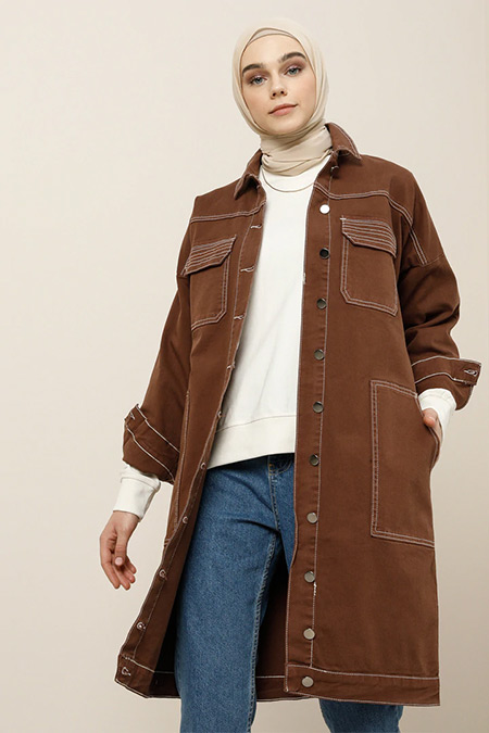 Benin Kahverengi Doğal Kumaşlı Cep Detaylı Ceket