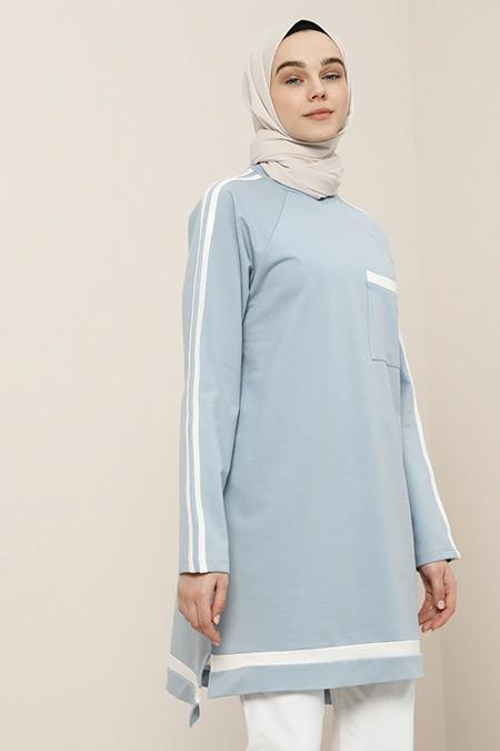 Benin Mavi Beyaz Cep Detaylı Tunik