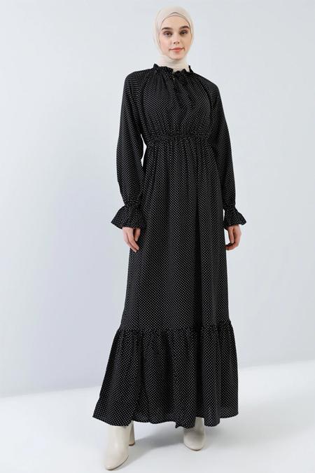 Benin Siyah Doğal Kumaşlı Puantiyeli Elbise