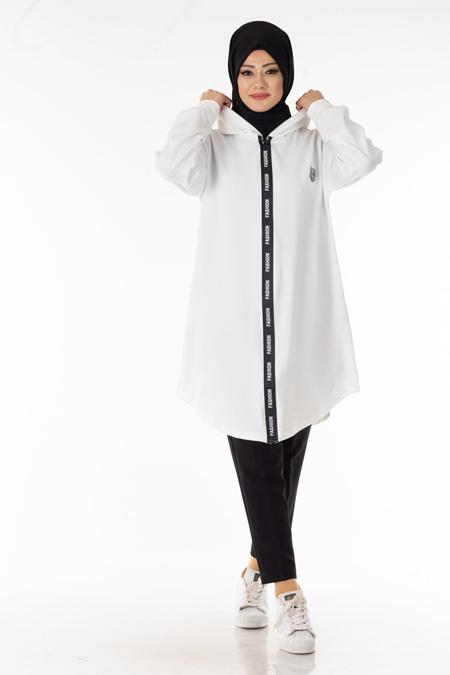 Beyaz Fashion Şeritli Tesettür Kap