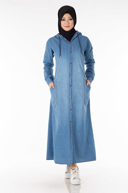 Buz Mavisi Düğmeli Kot Elbise