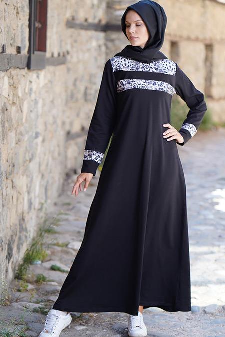 Elif Okur Siyah Beyaz Leopar Spor Elbise