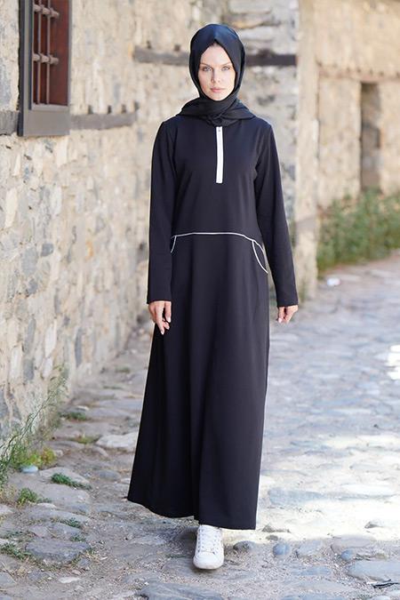 Elif Okur Siyah Biyeli Spor Elbise