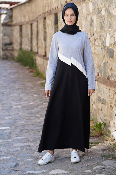 Elif Okur Siyah Gri Garnili Spor Elbise