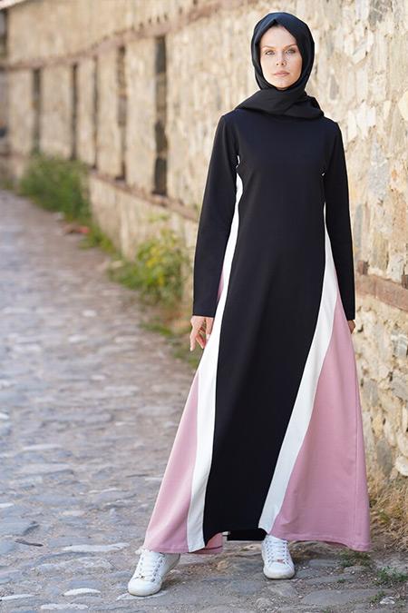 Elif Okur Siyah Pudra Garnili Spor Elbise
