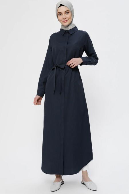Everyday Basic Lacivert Doğal Kumaşlı Gizli Düğmeli Elbise