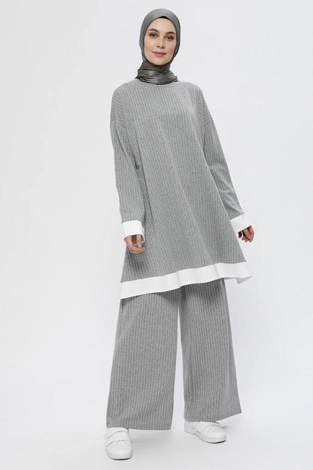 Everyday Basic Açık Gri Garnili Tunik & Pantolon İkili Takım