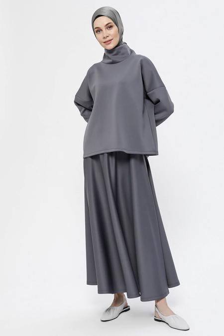 Everyday Basic Antrasit Scuba Kumaşlı Bluz & Etek İkili Takım
