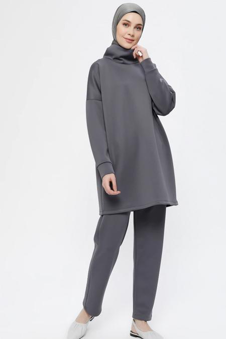 Everyday Basic Antrasit Scuba Kumaşlı Tunik & Pantolon İkili Takım