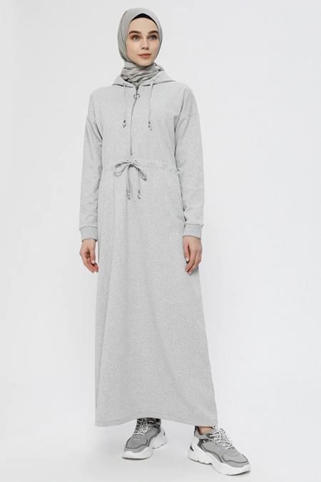 Everyday Basic Gri Belden Büzgülü Kapüşonlu Elbise