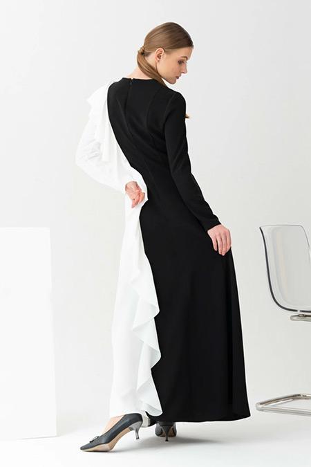 Gönül Kolat Beyaz Volume Abiye Elbise