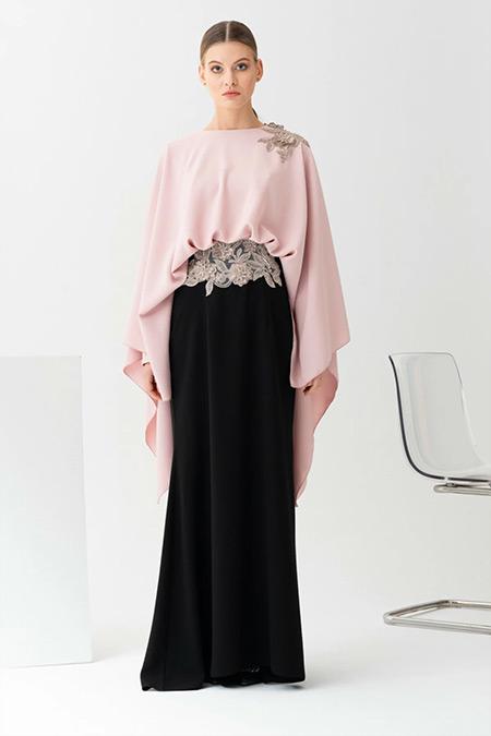 Gönül Kolat Pudra Çift Renk Abiye Elbise