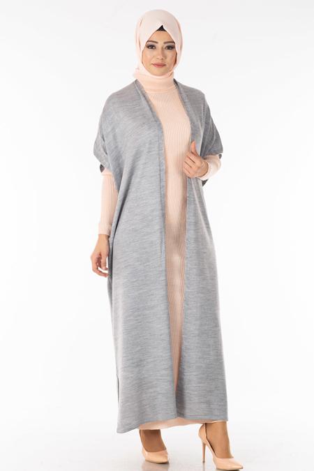 Gri Pudra Yelek Elbise İkili Takım