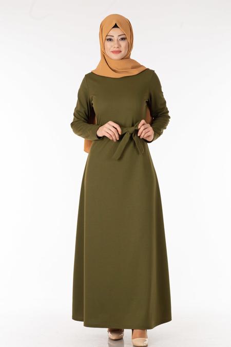 Haki Kuşaklı Tesettür Elbise