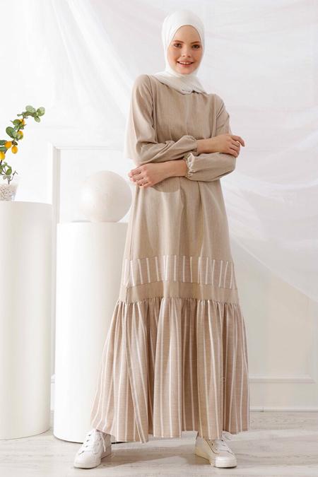 İnşirah Bej Çizgili Elbise
