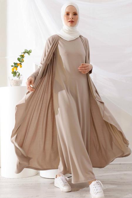 İnşirah Bej Hırka & Kolsuz Elbise İkili Takım
