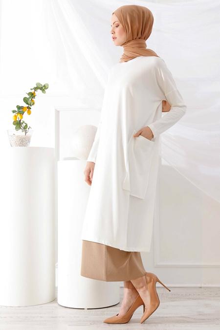 İnşirah Beyaz Cep Detaylı Tunik