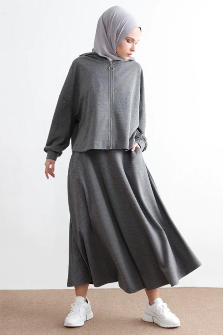 İnşirah Füme Kapüşonlu Tunik & Etek İkili Takım