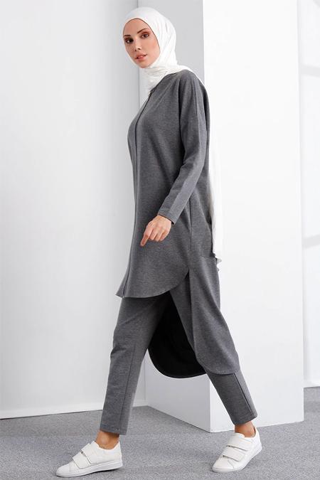 İnşirah Füme Tunik & Pantolon İkili Takım