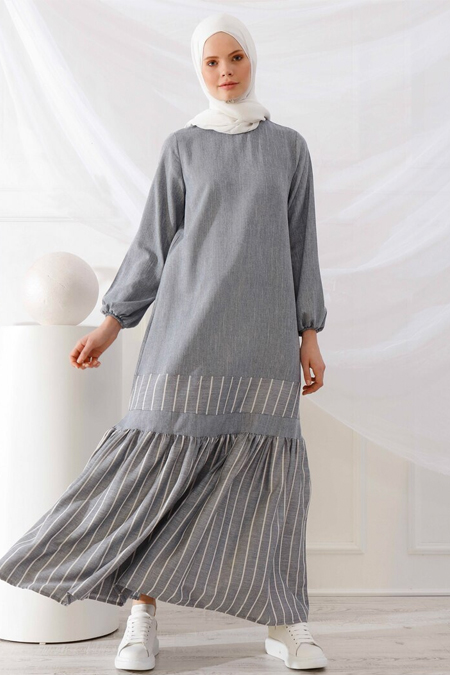 İnşirah İndigo Çizgili Elbise