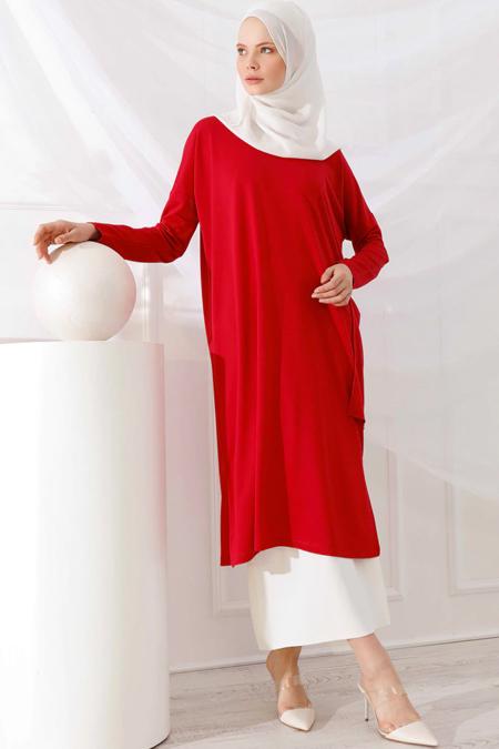 İnşirah Kırmızı Cep Detaylı Tunik