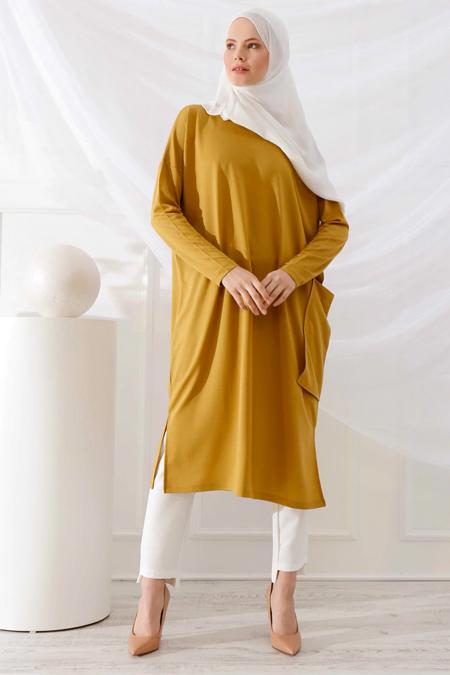 İnşirah Safran Cep Detaylı Tunik