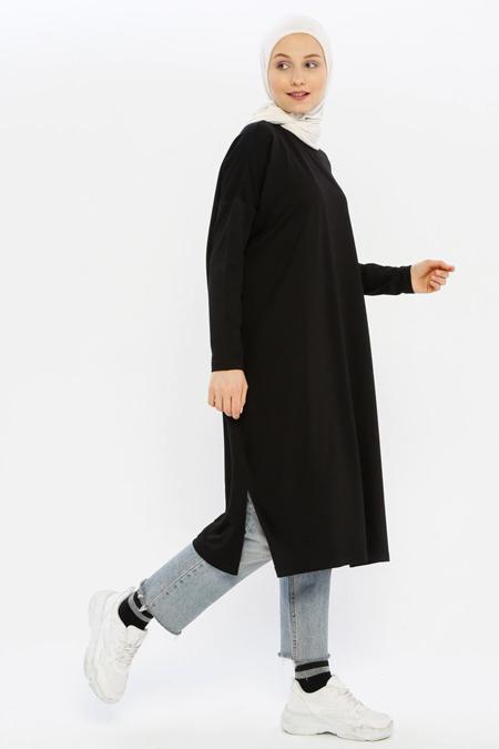 İnşirah Siyah Cep Detaylı Tunik