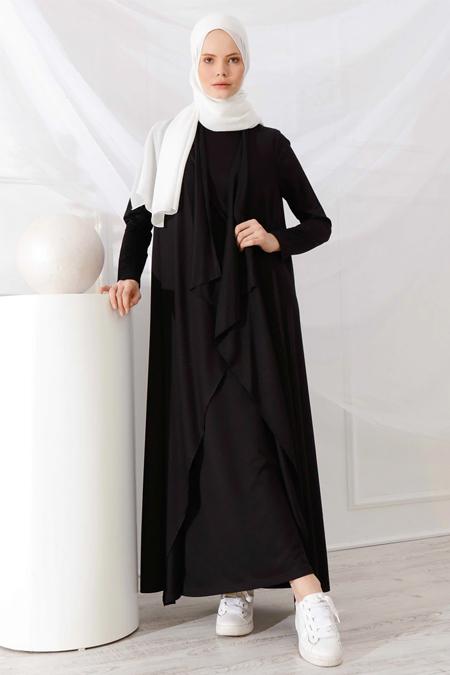 İnşirah Siyah Hırka & Kolsuz Elbise İkili Takım