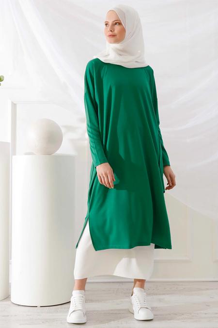 İnşirah Yeşil Cep Detaylı Tunik