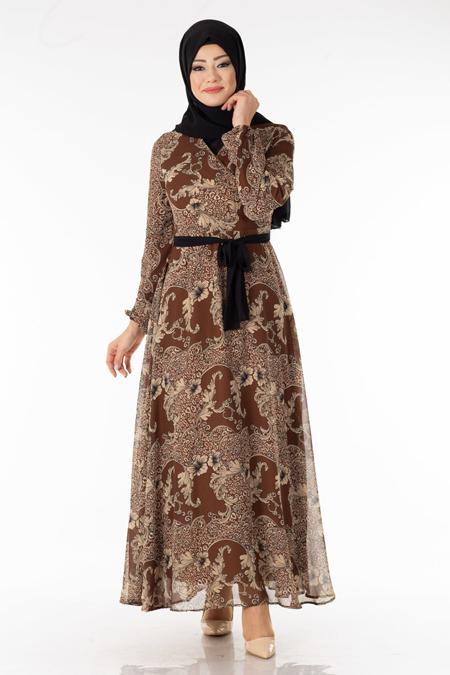 Kahve Çiçek Desen Şifon Elbise