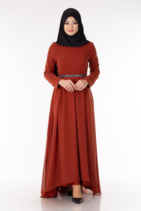 Kiremit Kuşaklı Şifon Tesettür Elbise