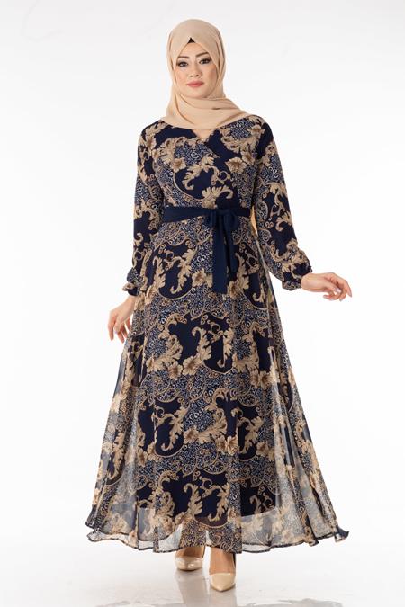 Laci Çiçek Desen Şifon Elbise