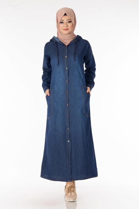 Laci Düğmeli Kot Elbise