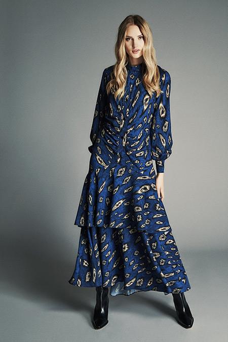 Latifa Mavi Vanessa Volanlı Elbise