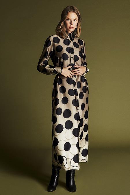 Latifa Olive-Siyah Roxet Düğmeli Elbise