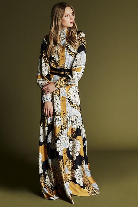 Latifa Safran Beyon Dijital Baskılı Elbise