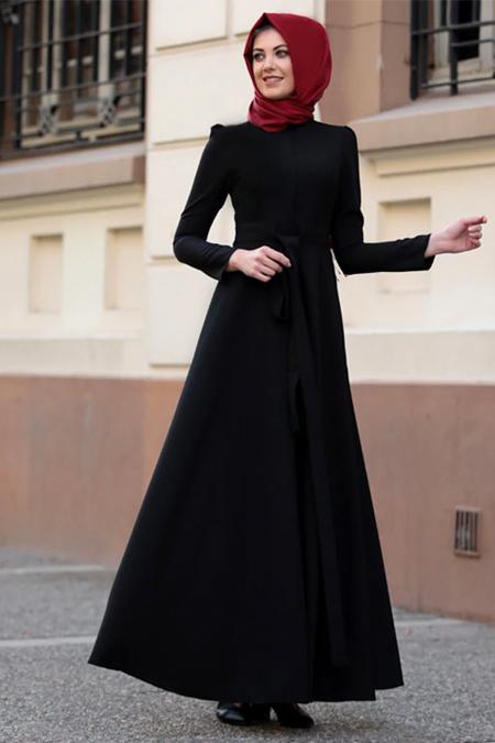 Lavienza Siyah Kuşaklı Elbise
