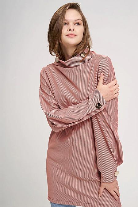 MIZALLE YOUTH Gül Kurusu Büyük Düğmeli Sweatshirt
