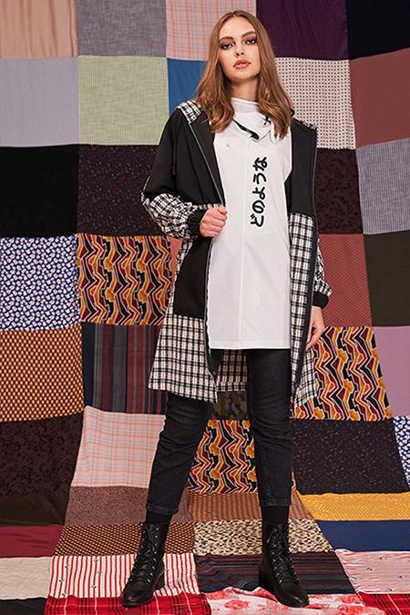 MIZALLE YOUTH Siyah Ekose Garnili Fermuarlı Sweatshirt