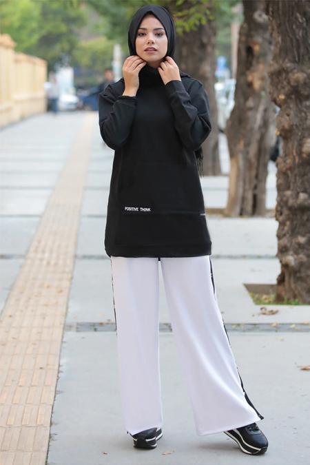 Meys Beyaz Çıtçıt Şeritli Pantolon