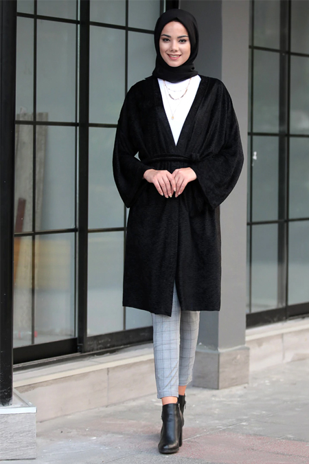 Meys Siyah Yaka Detaylı Ceket
