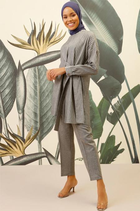Mnatural Antrasit Tunik & Pantolon İkili Takım
